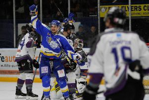 Chase Schaber celebrates a goal in Manchester Storm's last visit to Fife Ice Arena in November. Pic: Jillian McFarlane