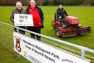 CRT Trustee Bob Young and Bowhill Rovers volunteers Alexander Young and Steven McGuiness.