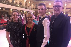John and Jennifer with teachers Jim and Karen from Kirkcaldy dance getting ready for the ballroom competition in Blackpool.