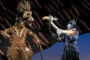 Richard Hurst (Scar) and Matthew Forbes (Zazu) in Disney's The Lion King.  Pic: Disney.