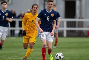 Kirkcaldy High School pupil Liam Newton leads an attack for Scotland Schoolboys U18s in their 1-0 defeat to Australia. Pic: Ian Cairns