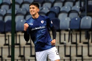 Kieron Bowie celebrates his second, and Raith's third, in the win over Montrose on Saturday. Pic: Fife Photo Agency