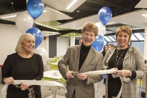 Rector Jim Spence at the University of Dundee in Kirkcaldy formally opening the new social space.  From left: Jennifer Donnachie, scholars manager, Jim Spence and Lynn Kirkbride, Dean School of Nursing and Health Services. Pic: George McLuskie.