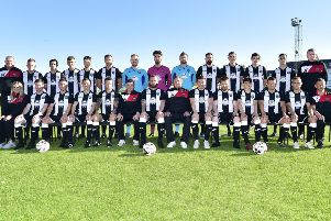 FRASERBURGH FC 2018-2019''FRONT (L TO R) SARAH ROBERTSON,LEWIS DAVIDSON,MIKE RAE,PAUL YOUNG,RYAN COWIE,MARK COWIE,RYAN CHRISTIE,JAMES DUTHIE,GARY HARRIS,GRAHAM JOHNSTON,RYAN SARGENT,SCOTT BARBOUR, GREG BUCHAN,DEREK STRACHAN.'REAR  BILLY GORDON,STEWART RENNIE, WILLIE WEST,KIERAN SIMPSON,JAMIE BEAGRIE,BRYAN HAY,PAUL LEASK,PETER TAIT, EDDIE FLYNN,MARC DICKSON,PAUL CAMPBELL,CAMMY BUCHAN,SEAN BUTCHER,ANTHONY SHERLOCK