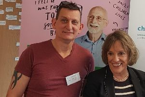 Chair of Y Suffer in Silence, Paul Greenall, with Childline founder Esther Rantzen