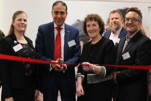 Fujitsu Education Director Ash Merchant and NESCol Principal Liz McIntyre officially open the Innovation Hub with representatives from NetApp, Intel and Ruckus Networks