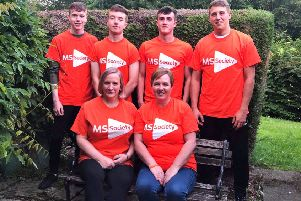 Christine Reilly, of Newlands, near Denholm, and her family are doing a skydive in Fife in aid of the MS Society. jumping with her are her twin 18-year-old sons Lewis and Craig Reilly, nephew Matthew MacKenzie, cousin Lyndsey Gibson and her daughter Clare's partner, Jordan Reid.