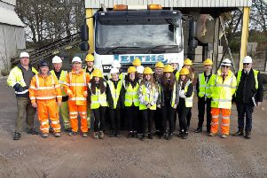 The Mintlaw pupils with staff from Leiths of Scotland during their tour of their Longside plant.
