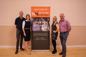 Pictured, from left, are Neil McLeod, Property Partners; Nicola Davidson and Victoria MacLachan, Optimul: Neil Haston, Haston Creative.