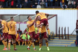 Motherwell players celebrate beating Hibs 3-0 at Fir Park on August 31 (Pic by Ian McFadyen)