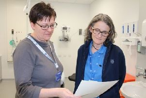 Dr Emily Kennedy with trainee Advanced Nurse Practitioner Hilary Clarke, a colleague in the Out of Hours service based at Dumfries and Galloway Royal Infirmary.
