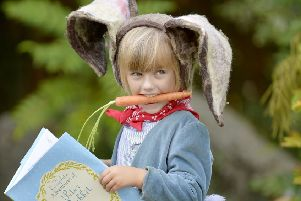 Booking in...six-year-old Charlotte Brady takes inspiration from Scotland's StorybookTrail to learn more about Peter Rabbit at the Beatrix Potter Exhibition and Garden at Birnam Arts in Perthshire.