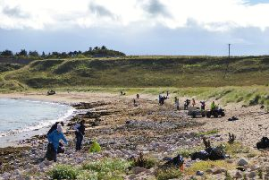 More than 40 volunteers took part in the beach clean-up