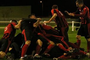 Dalbeattie Star players celebrate Lewis Sloan's winner against Edinburgh University (picture: Dalbeattie Star)