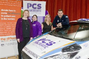 Fiona Brown and Dionne Donovan from Pancreatic Cancer Scotland, fundraiser Leanne Monaghan and rally driver Garry Pearson.