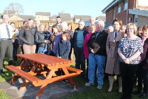 The gathering at the dedication of the benches to the memory of Dr Duck