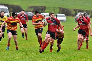 James Wallace makes a break for Newton Stewart  against West of Scotland (picture: BB Photography)