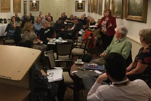 The crowded first meeting of the SMART group, pushing the Stranraer waterfront plan forward