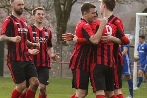 Dalbeattie Star celebrate goal against Kelty Hearts (picture: Dalbeattie Star)
