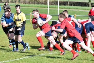 Newton Stewart James Wallace breaks from the scrum with Robbie McCornick in support against Carrick (picture: BB Photography)