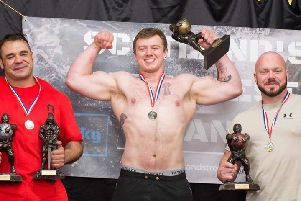 Motherwells Callum Crozier (centre) is pictured after winning Scotlands Strongest Man title in Fraserburgh by 11 points (Submitted pic)