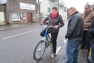 Ruth Davidson tries pedal power at Creetown Initiative