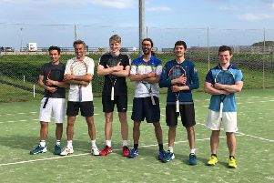 The Stonehaven men's tennis team that reached the Scottish Cup semi finals for the first time in the club's history. Left to right James Kirk, Bruce McIver, Patrick Young, Guillaume Hermann, Fergus Hermiston and Kieran Hamilton