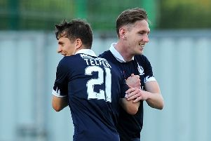 First Falkirk goal for new signing Declan McManus (picture: Michael Gillen)