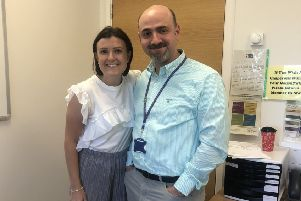 Mandie and consultant Sam celebrate her good news