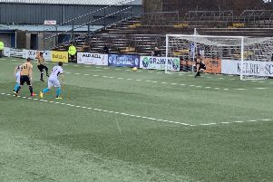 Forfar's Dale Hilson beats Max Currie from the penalty spot to win Saturday's encounter at Station Park.