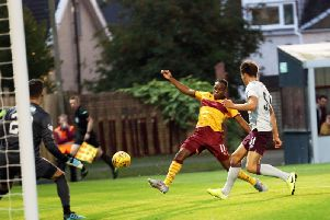 Sherwin Seedorf failed to take this scoring chance in the first half against Hearts on Friday (Pic by Ian McFadyen)