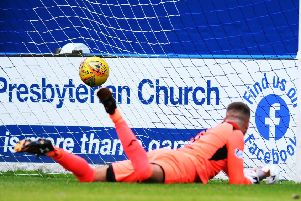 Max Currie was beaten three times but was still arguably Stranraer's top performer against Falkirk (pic: Michael Gillen)