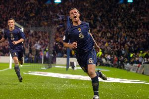 Barry Ferguson celebrates his equalising goal to make it 1-1 against Italy at Hampden Park