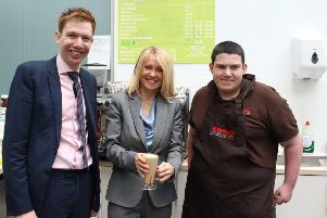 Paul Masterton and Esther McVey with one of the employees of the Greenhouse Cafe.