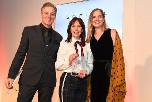 From left:  Rory Campbell (MC), Dianne Teo, International Women's Award Winner, and Stephanie Wright, Sofitel London St James.