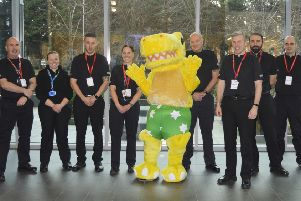 Greater Glasgow Police division with NSPCC Pantosaurus mascot