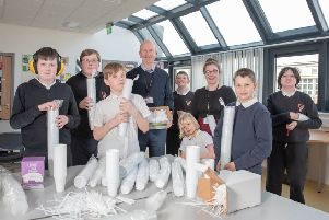 Councillor Paul Garner with Carrongrange High School art teacher Debbie Cairns and pupils. Picture: George Vekic