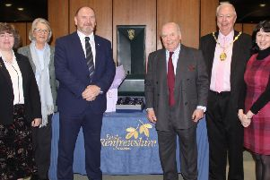 Guy Clark is joined by guests including Councillor Tony Buchanan and Provost Jim Fletcher to mark his retirement from the role of Lord-Lieutenant.