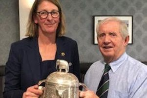 SRU President Dee Bradbury and GROGS chairman Brian Rigby with the Calcutta Cup