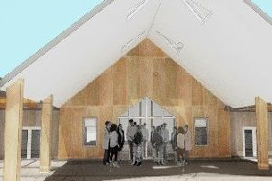 Artist's impression of the front entrance  of the Crematorium.