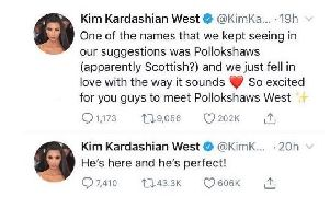 The tweet apparently indicating the baby would be called Pollokshaws West.