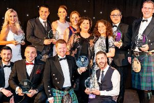 East Renfrewshire Business Award winners 2019 with the evening's host Elaine C Smith (Photo: David Muir)