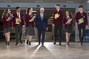 St Ninian's High School head teacher John Docherty, with pupils Grace Studham, 'Ali Alani, 'Poppy Rose Wright, 'James Lockhart, 'Mareesa Cassidy and 'Joseph Creighton. (Photo: 'Mark F Gibson / Gibson Digital)