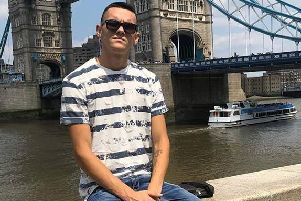 Emiliano Boia pictured at Tower Bridge in London.