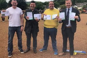Rennie Road Community Alliance founder Kevin Kane (left) with (l-r) Jamie Hepburn MSP, Councillor Mark Kerr and Stuart McDonald MP on the ash pitch