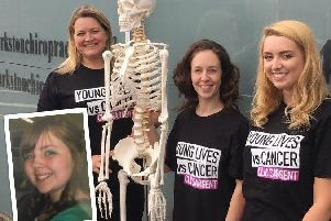 From left: Chriopractors Kirsten, Laura & Stephanie (and Bones the practice's skeleton) and inset:  Kathryn Logan, sadly no longer with us.