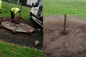 Fife Council workers dismantle the roundabout at Caskieberran Park, and the metal pole left behind.