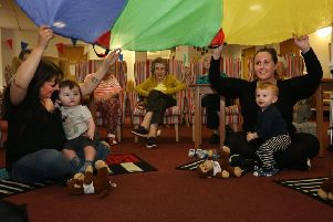 Music Makers & Shakers at Eastwood Court: Cara Anderson with her grandson & Catherine Lowe with her son and residents (Photo: Alister Firth)