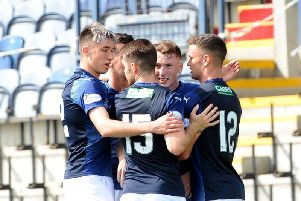 Raith players celebrate a goal in the previous home win against Clyde.
