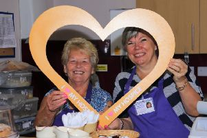 Hospice volunteers, Elizabeth Johnstone and Janice McKibbin, made sure visitors were well catered for with tea, coffee and cake